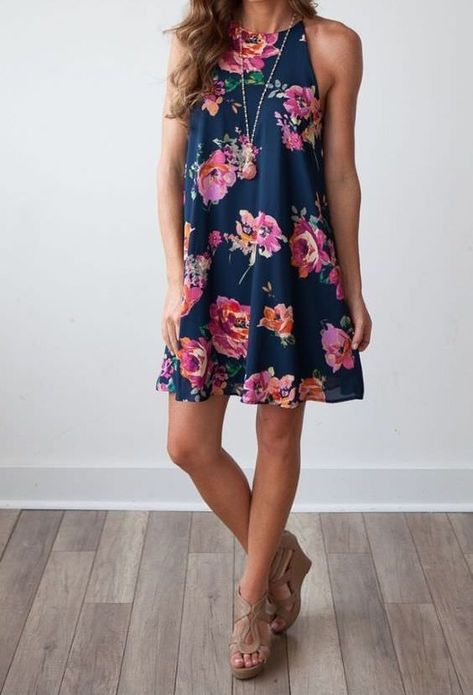 Bloom Where You Are Planted Navy and Floral Print Shift Dress - Magnolia Boutique Summer dresses summer outfits women