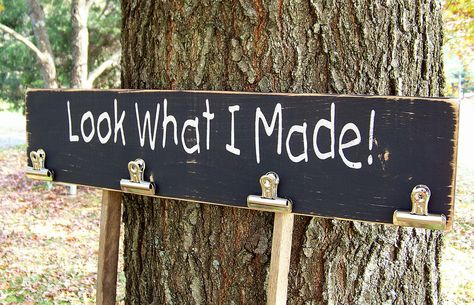 diy project: Look What I Made Brag Board Wood Sign. You could use this for when the kids get gone from school, they could hang their artwork or tests on it!
