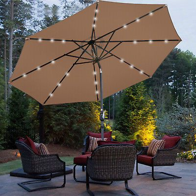 10ft Led Lighted Patio Market Solar Umbrella Powered Table 8 Ribs Tan 757510722792 Ebay Patio Umbrella Patio Solar Umbrella
