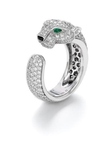e588d7ec6f982 A Diamond, Emerald and Onyx 'Panthere De Cartier' Ring | Cartier in ...