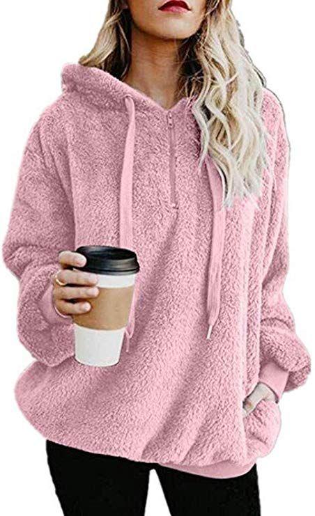 FUNIC Womens Hoodied Coat Oversized Long Sleeve Hoodies Sweatshirt Sweater Zipper Hooded Coat Pullover with Pocket
