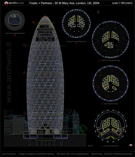 Armadio A Muro Dwg.30 St Mary Axe Tower Autocad Dwg 30 St Mary Axe St Mary