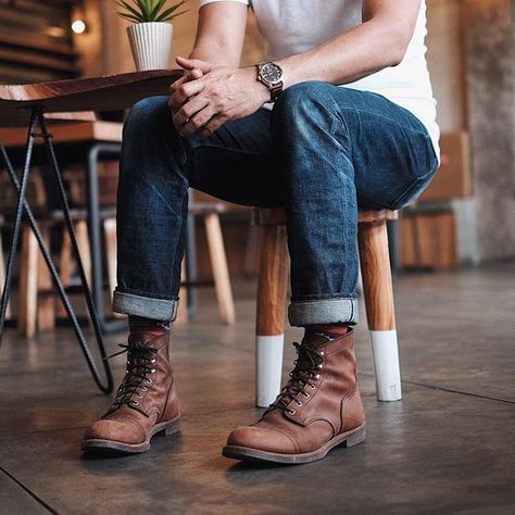 mens outfits with vans Red Wing Boots, Botas Red Wing, Brown Boots Outfit, Casual Boots, Brown Boots Men, Boots For Men, Military Boots Outfit, Red Wing Iron Ranger, Iron Ranger 8111