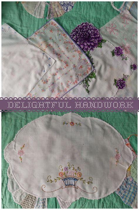 Delightful Handwork: Win these vintage linens on Delightful Handwork's Give~Away 2015! Enter now through 01/13/2015! #hankies #handkerchiefs #vintage #embroidery