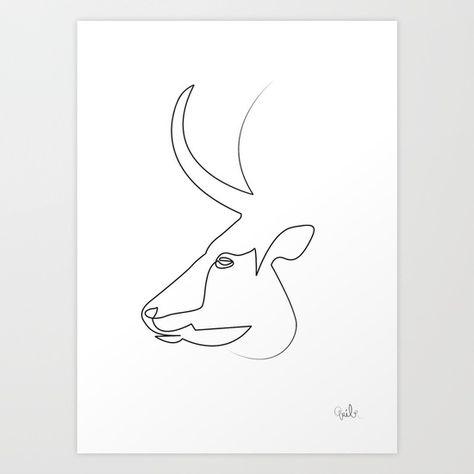 Oneline Bull Art Print