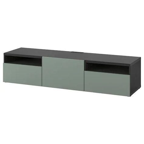 Ikea Tv Meubel Grenen.Besta Tv Meubel Zwartbruin Notviken Grijsgroen 180x42x39 Cm In
