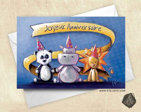 Carte de voeux ou invitation Joyeux anniversaire Panda Lion & Hippopotame : Cartes par stillistic