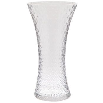 Diamond Textured Flared Glass Vase Large Glass Vase Clear