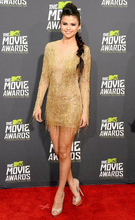 MTV Movie Awards 2013 Red Carpet: Selena Gomez.  Love everything, the hair, dress, shoes....