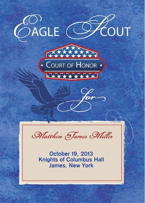 Eagle Scout Court Of Honor Ceremony Program Blue Shield Card Ceremony Programs Eagle Scout Greeting Card Artist