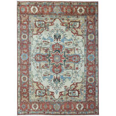 Bokara Rug Co Inc One Of A Kind Heriz Hand Knotted 10 X 14 Wool Red Beige Area Rug Navy Blue Area Rug Rugs Area Rugs