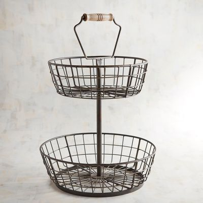 Bendt 2 Tier Iron Fruit Basket Reviews Crate And Barrel In 2020 Basket And Crate Fruit Basket Tiered Fruit Basket