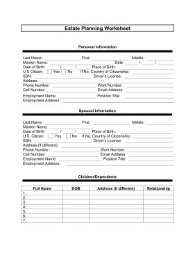 free printable form 1000  The estate planner worksheet is a free, printable form that ...