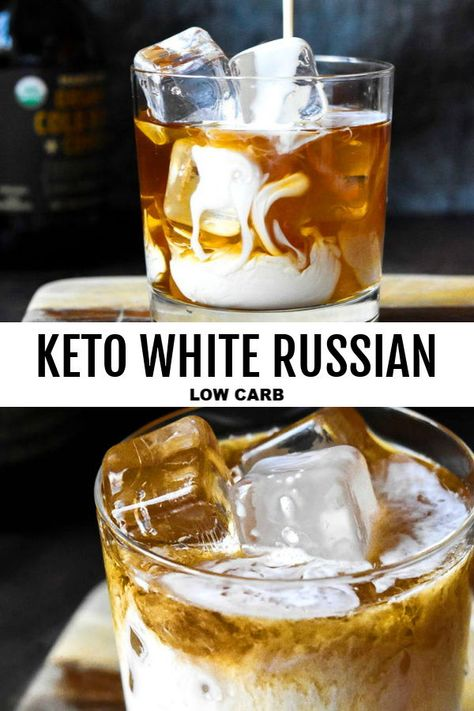 NEW How to make a simple clean ingredient creamy Keto White Russian with all the traditional flavors without the additional junk! Coffee booze and cream here we come! Low Carb Cocktails, Low Carb Mixed Drinks, Cocktail Recipes, Keto Friendly Desserts, Low Carb Desserts, Diet Desserts, Keto Cookies, White Russian Recipes, Skinny White Russian Recipe