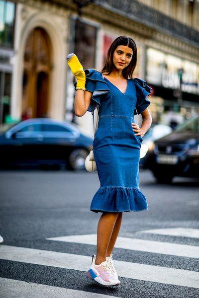 Denim Dress - Flawless Street Style Snaps From Paris Fashion Week, Fall 2018 - Photos