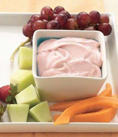 Recipe for Strawberry Lemon Fruit Dip - One great taste with only three ingredients can lighten up offerings for either an appetizer or dessert buffet. I made this way before there was flavored cream cheese so I know this recipe is so refreshing you'll crave it. Must try it if you've never had it.