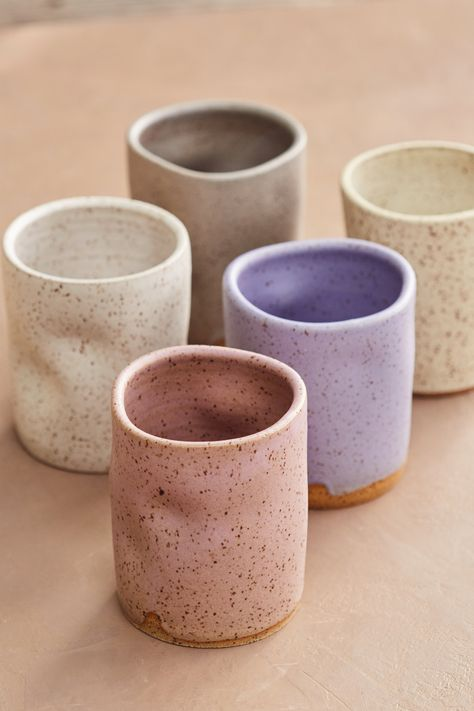Speckled Ceramic Cups - - Hand thrown on the wheel and then… squish! Fun to hold and drink from. Pottery Wheel, Slab Pottery, Ceramic Pottery, Pottery Art, Pottery Studio, Ceramics Pottery Mugs, Slab Ceramics, Pottery Plates, Ceramic Tableware