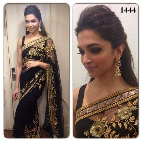 Deepika Padukone Black Bollywood Sarees Online ,Indian Dresses - 1