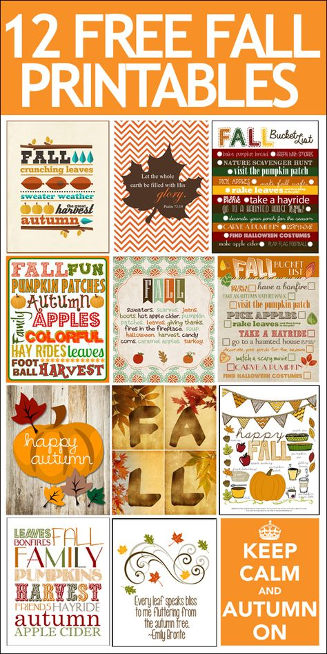 12 FREE Fall Printables. Cheap and easy way to get your house ready for the season!