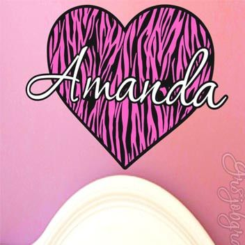 Personalized Name Zebra Stripe Print Heart Vinyl Wall Decal - Zebra stripe wall decals