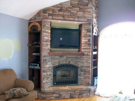 Corner Stone Fireplace Design Idea With Tv And Side Mantels