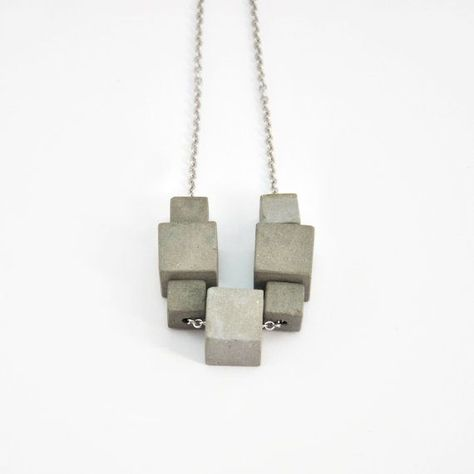 Concrete cube necklace modern necklace cement pendant concrete jewelry geometric pendant minimalist jewelry gift for her gift for architect
