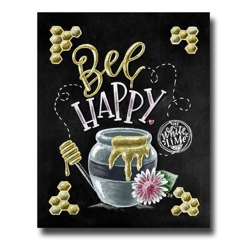 ♥ Bee Happy ♥ ♥ L I S T I N G ♥ Each image is originally hand drawn with chalk and converted digitally. Chalkboard prints maintain the authenticity and dust of the original drawing smudge free. All prints are printed on Deep Matte Fujicolor Crystal Archive Professional Paper. ♥ W A T E