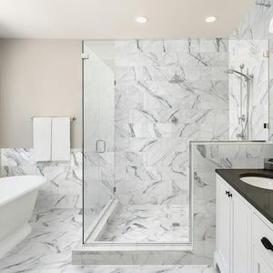Style Selections Statuary White 12 In X 24 In Matte Porcelain Marble Look Floor Tile Lowes Com White Porcelain Tile Marble Tile Bathroom Statuary Marble Tile