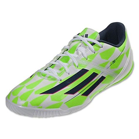 Adidas F10 IN Soccer Sneaker Shoe - White/Blue/Green - Mens - 11.5