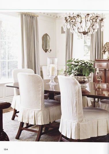 slipcovers - dining room Skirt example … | Home ideas | Pinte…