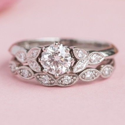 Floral Engagement Ring With Trefoil Of Diamond Set Leaves Floral Engagement Ring Diamond Wedding Rings Bridal Jewelry Sets