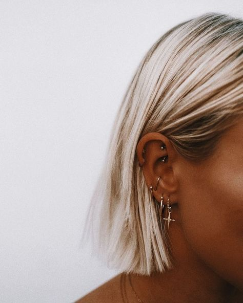 Earring stack - Curated Ear - Dainty Gold Jewelry - Ear Piercings #jewelry  #Curated #Dainty #ear #earring #gold #jewelry #piercings #stack