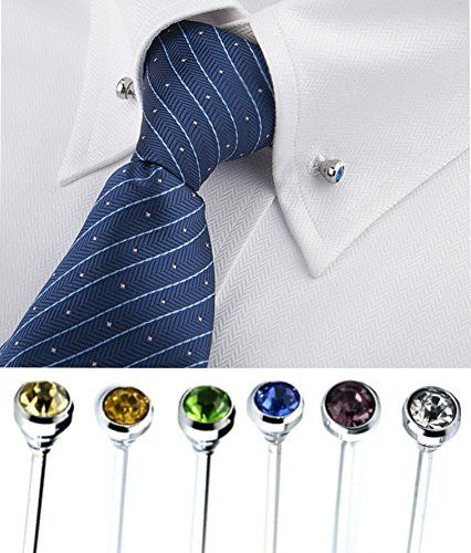 Men/'s Solid Dress Shirt with Tie Handkerchief Cufflinks and Silver Collar Bar