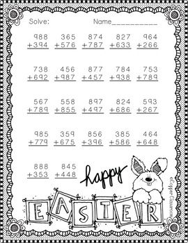 3 Nbt 2 Easter Themed 3 Digit Addition With Regrouping 2nd Grade Math 3rd Grade Math Second Grade Math