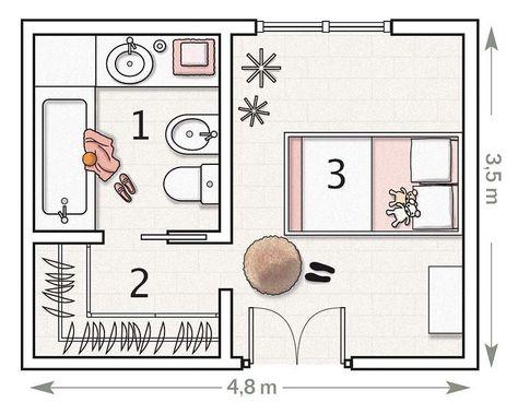 Plano:+con+vestidor+y+baño