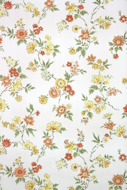 1950s Vintage Wallpaper By The Yard Floral Wallpaper With Yellow