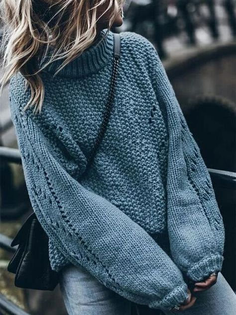 Turtlenck Hollow Out Knitted Pullover Sweater
