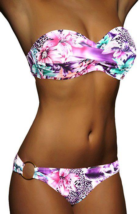 Mode Damen Twist Badeanzug Bandeau Swimwear Bikini Push-Up Set