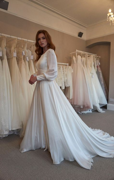 Long Sleeve Silk Bridal Gown - Amber by Sassi Holford