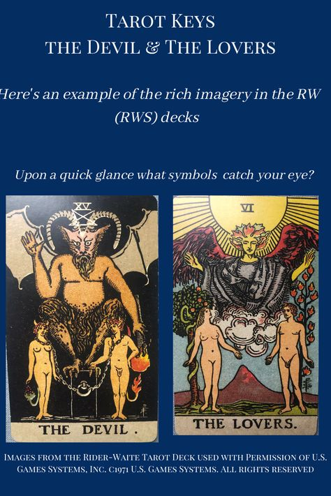 Want to learn Tarot but don't know what deck to chose? Head over to my blog where I discuss the basiscs of chosing a Tarot deck. #Tarot #RWS #RW #Rider-Waite #Rider-Waite-Smith #ChosingaTarotDeck #LearningTarot #TarotHelp #LearnTarot #EasyTarot #TarotLessons #Thedevil #Thelovers