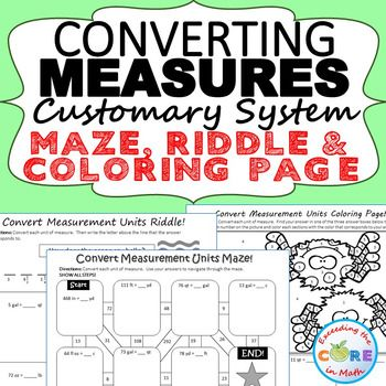 Convert Customary Units Of Measure Maze Riddle Coloring Page