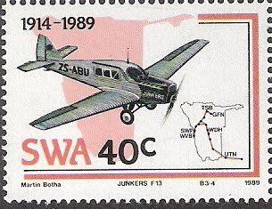 Stamp Junkers F13 1930 South West Africa 76th Anniv Of Aviation Industry Mi Na Sw 639 Sn Na Sw 616 Yt Na Sw 596 Aviation Industry Aviation Stamp