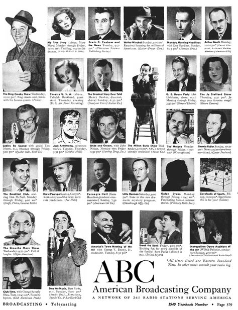 1949 ABC ad featuring Bing Crosby and other stars in Reel2ReelTexas.com's vintage recording collection
