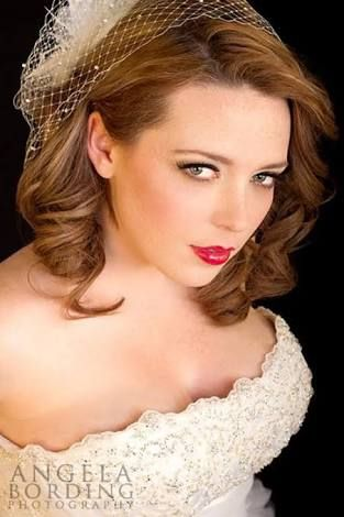 Plus Sized Bride With Birdcage Veil Wedding Hair Down
