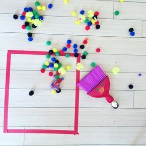 Sweep pompoms into a square, Montessori activities for toddlers, 45+ activities ...