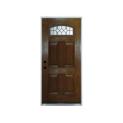 36 In X 80 In Classic Epic Camber Top Lite Chestnut Right Hand Inswing Stained Fiberglass Prehung Front Door Painted Front Doors Front Door Fiberglass Door