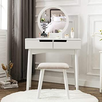Unihome Vanity Table Set Makeup Table With Round Mirror And Stool Small Dressing Tables With Drawers Makeup Vanity Table Set Small Dressing Table Vanity Table Vanity table with mirror and bench