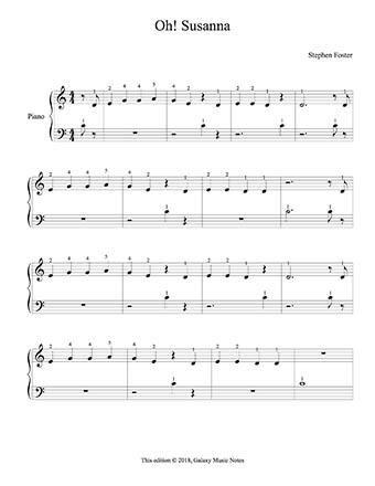 Oh Susanna Level 1 Piano Sheet Music Sheet Music Piano