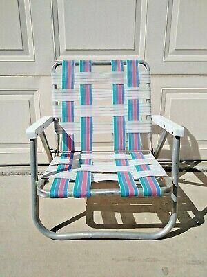 1980s Vintage Webbed Low Lawn Chair Folding Beach Festival Folding Beach Chair Patio Chairs Chair