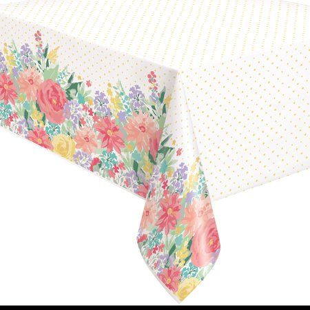 Pioneer Woman Spring Flowers Plastic Party Tablecloth 108 X 54in 2ct Walmart Com Party Table Cloth Pioneer Woman Walmart Pioneer Woman